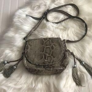 Tommy Bahama Snakeskin Print Leather Shoulder Bag!